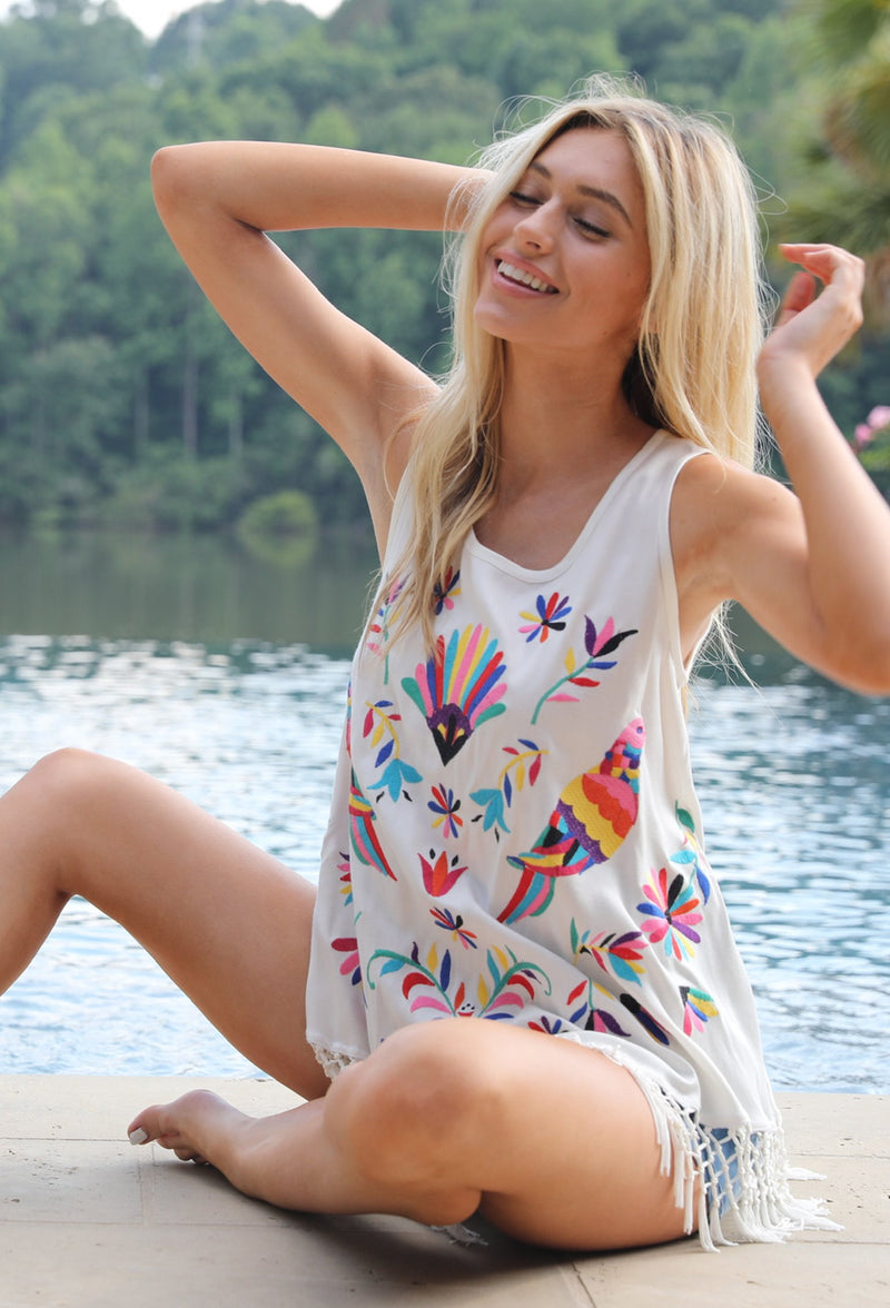 IVORY MEXICAN BIRD EMBROIDERED TOP WITH FRINGE