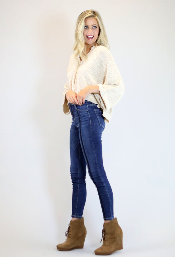 High Rise 2 Tone Front Seam Ankle Skinny