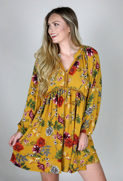 HELLO FALL FLORAL DRESS