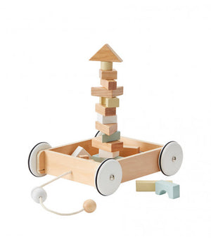 Kids Concept Wagon With Blocks Wooden Toy Pull Along Raines Nursery