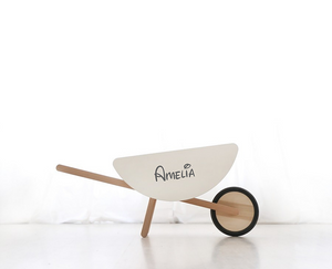 Ooh-Noo Personalised Wooden Wheel Barrow Modern Nursery Sold by Raines Nursery