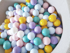 Misioo Round Ball Pit in Jersey Grey - Rainbow Balls