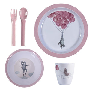 Sebra Up Sky Plate Set Pink Blue Kids Meal Time Raines Nursery