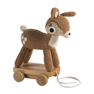 Sebra Crochet Pull Along Deer Soft Toy Doll Modern Nursery Raines Nursery