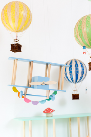 Up!Warsaw Mini Bi Plane Hand Made Wood Modern Nursery Raines Nursery