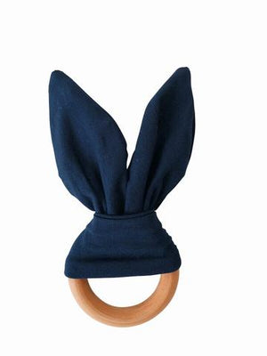 Chewable Charm - Crinkle Bunny Ear Teething Ring Navy