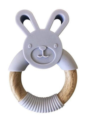 Chewable Charm Silicone and Wooden Teether Lavendar Raines Nursery