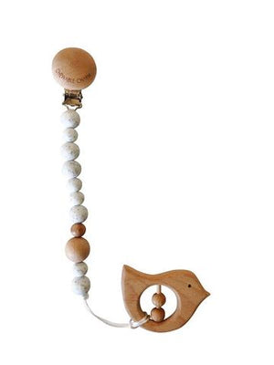 Chewable Charm Moonstone Pacifier and Wood Bired Teether Set