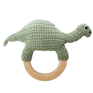 Sebra Crochet Rattle On A Ring Dinosaur Raines Nursery