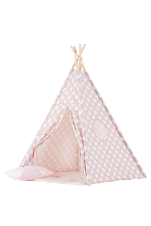 Wigiwama Pink With White Dots Teepee Set Play Tent Raines Nursery