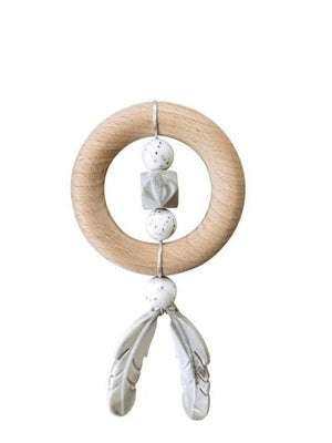 Chewable Charm Silicone and Wood Dreamcatcher Teether Moonstone Raines Nursery