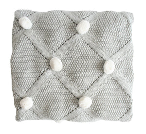 Alimrose Pom Pom Knit Blanket Grey and Ivory Raines Nursery
