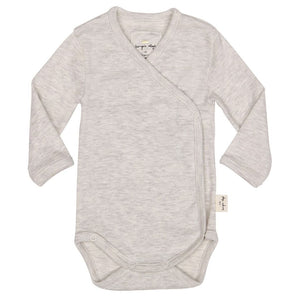 Konges Slojd Light Grey Melange Bodysuit Newborn Organic Raines Nursery
