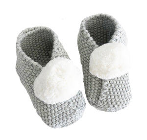 Alimrose Baby Pom Pom Slippers Ivory & Grey Slippers Raines Nursery