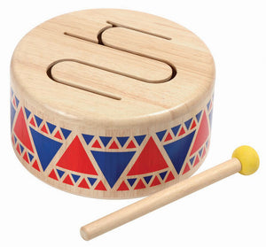 Plan Toys Solid Drum Musical Instrument Wooden Toy Raines Nursery