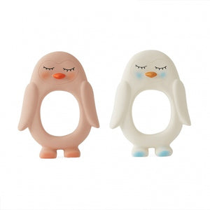 OYOY Penguin Baby Teether White Rose Raines Nursery
