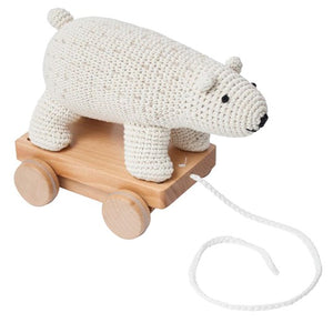 Sebra Polar Bear Pull Along Crochet Toy Soft Toy Raines Nursery