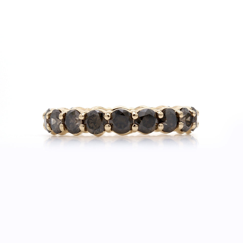 Olive Diamond Eternity Band Lab Grown Diamond on Side