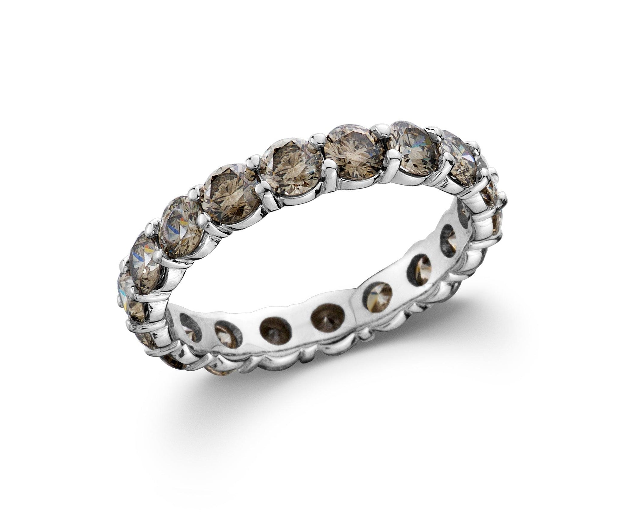 Smoky Lab-Grown Diamond Eternity Band White Gold