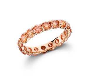 Orange Lab-Grown Diamond Eternity Band Rose Gold