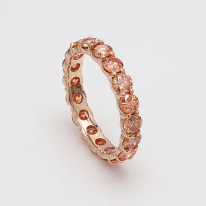 Orange Lab-Grown Diamond Eternity Band Rose Gold on Side