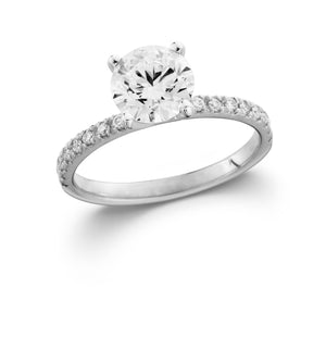 White Gold Lab-Grown Diamond Engagement Ring with Side Diamonds