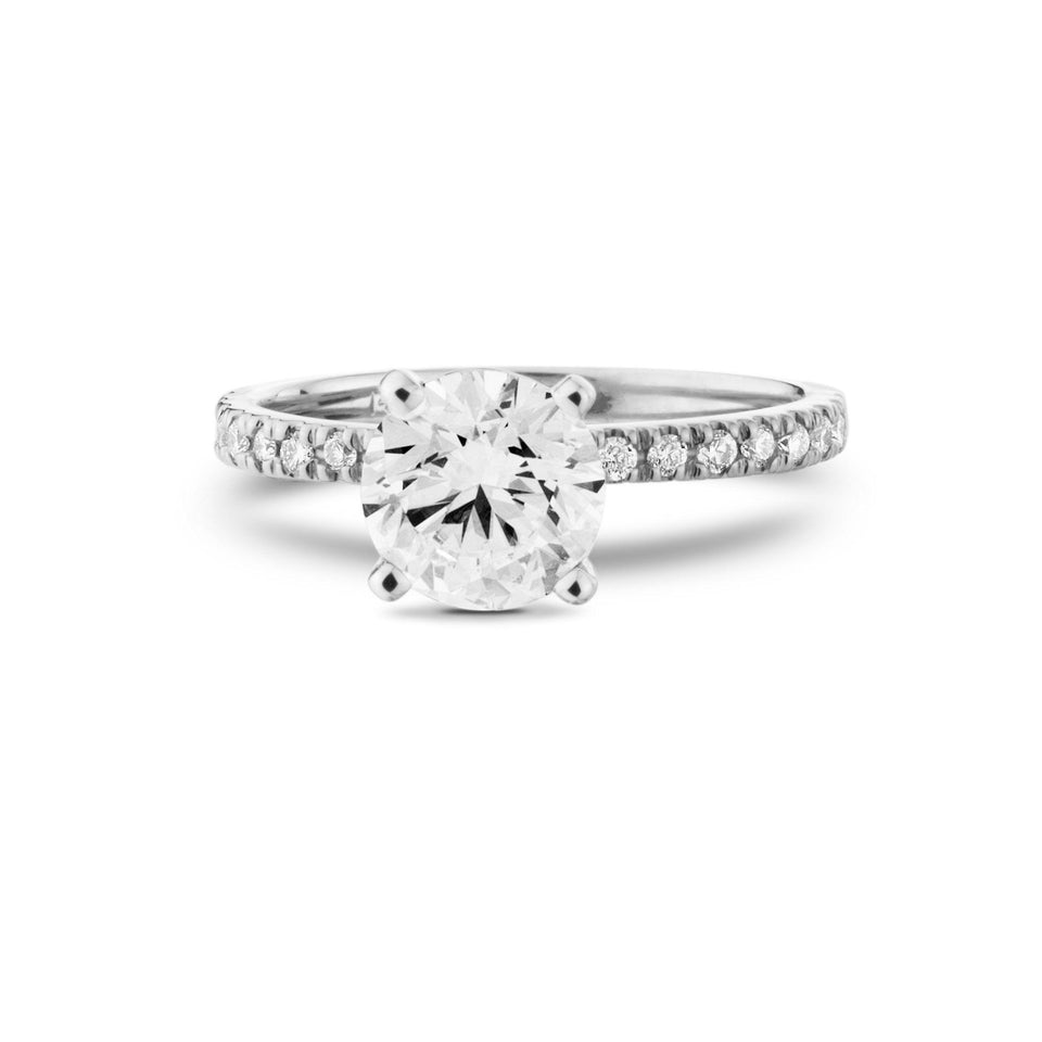 White Gold Lab Grown Diamond Engagement Ring with Side Diamonds Side View