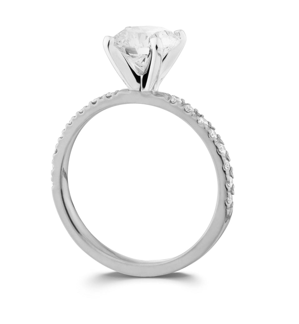 White Gold Lab-Grown Diamond Engagement Ring with Side Diamonds on Side