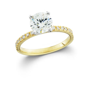 Gold Lab-Grown Diamond Engagement Ring with Side Diamonds