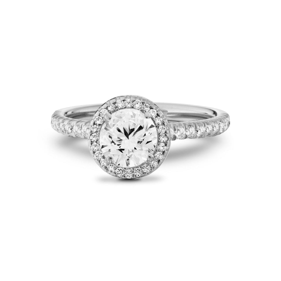 White Gold Halo Lab Grown Diamond Engagement Ring