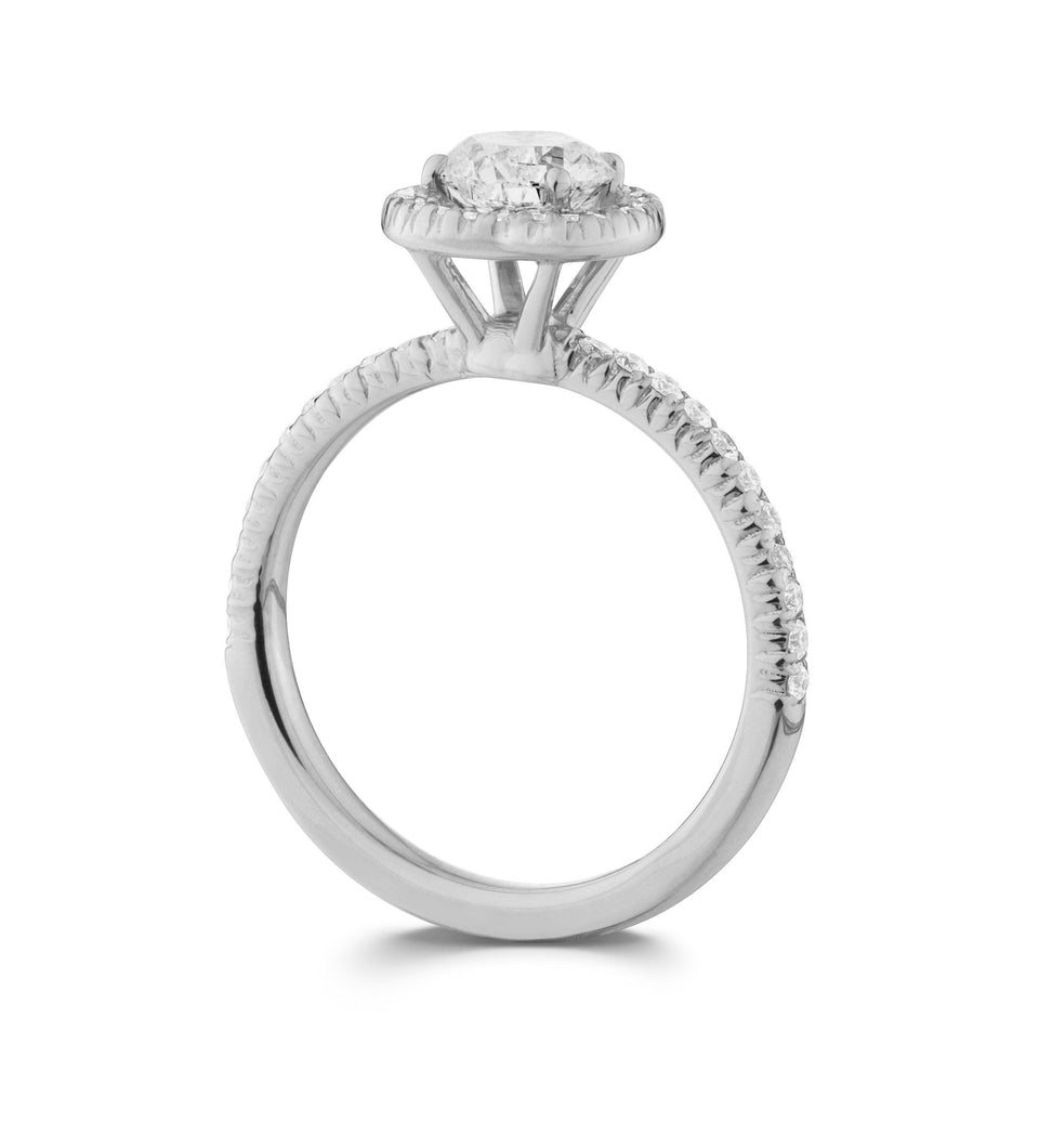 White Gold Halo Lab-Grown Diamond Engagement Ring on Side