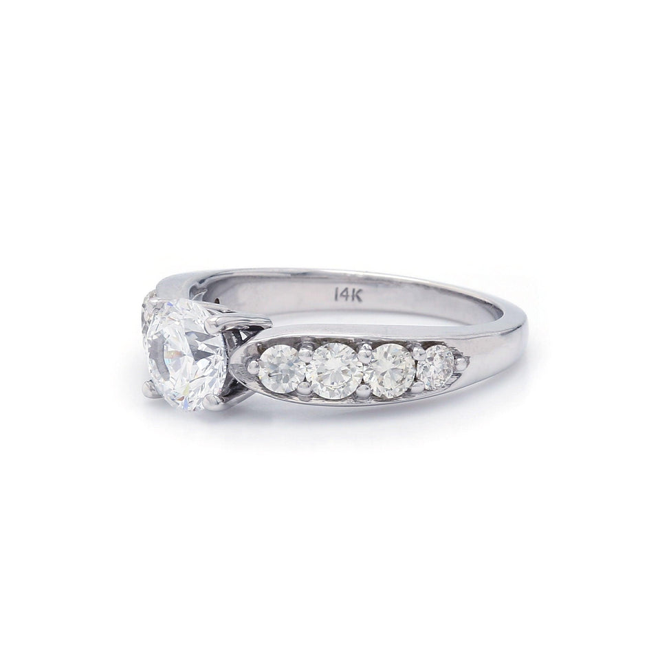 White Gold Engagement Ring Lab-Grown Diamonds Side