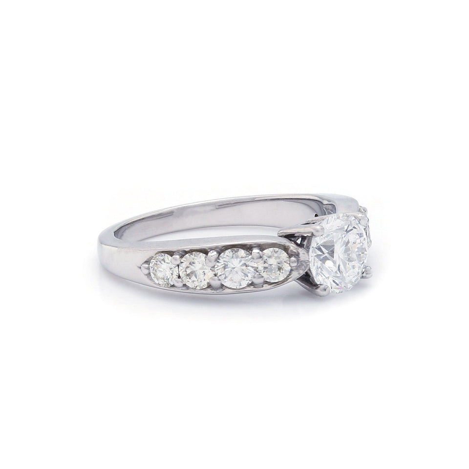 White Gold Engagement Ring Lab Grown Diamonds Side