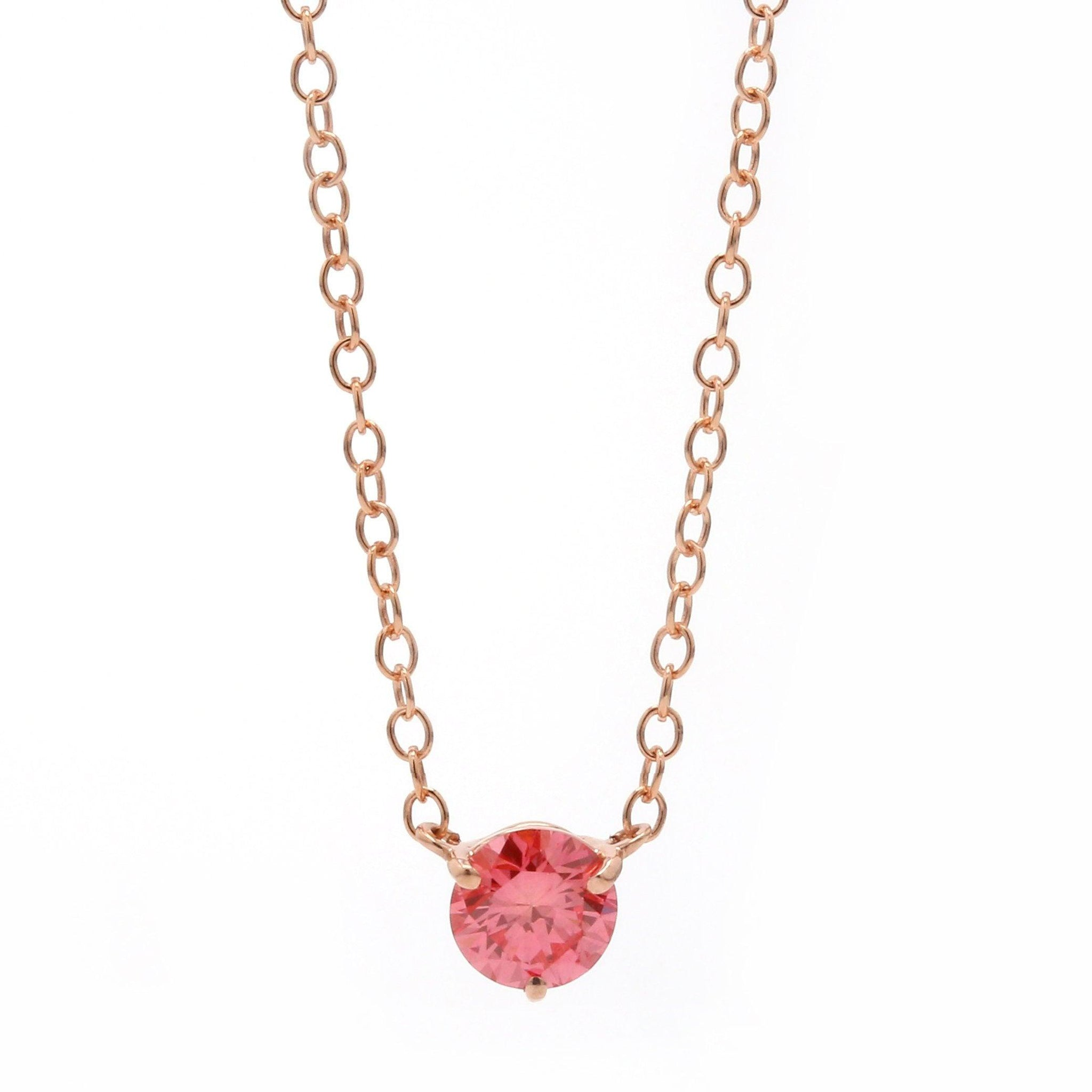 1/3 Ct. Pink Lab-Grown Diamond Solitaire 14K Rose Gold Necklace