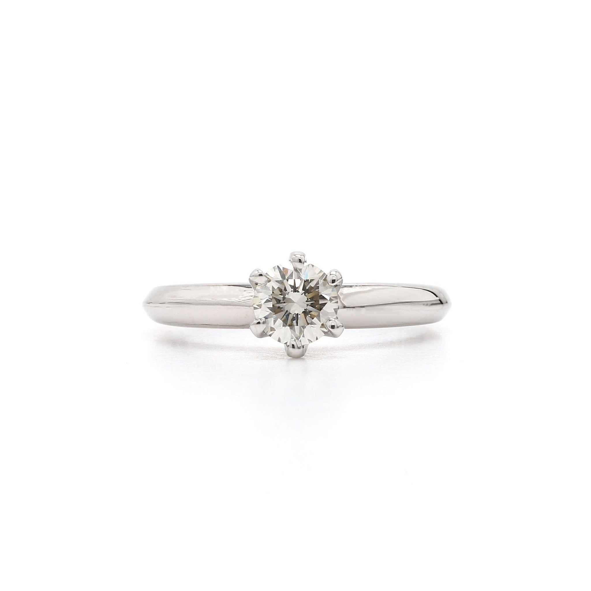 0.53 Carat Lab-Grown Diamond Ring 14K White Gold (Center:  H VS2)