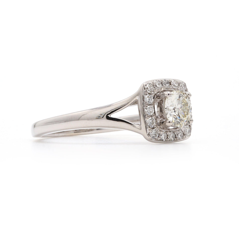 Square Halo Lab-Grown Diamond Engagement Ring Side View