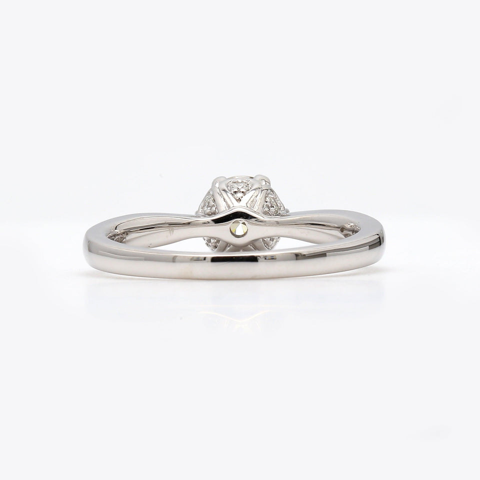 Rear View Lab Grown Engagement Ring with Diamonds on Band