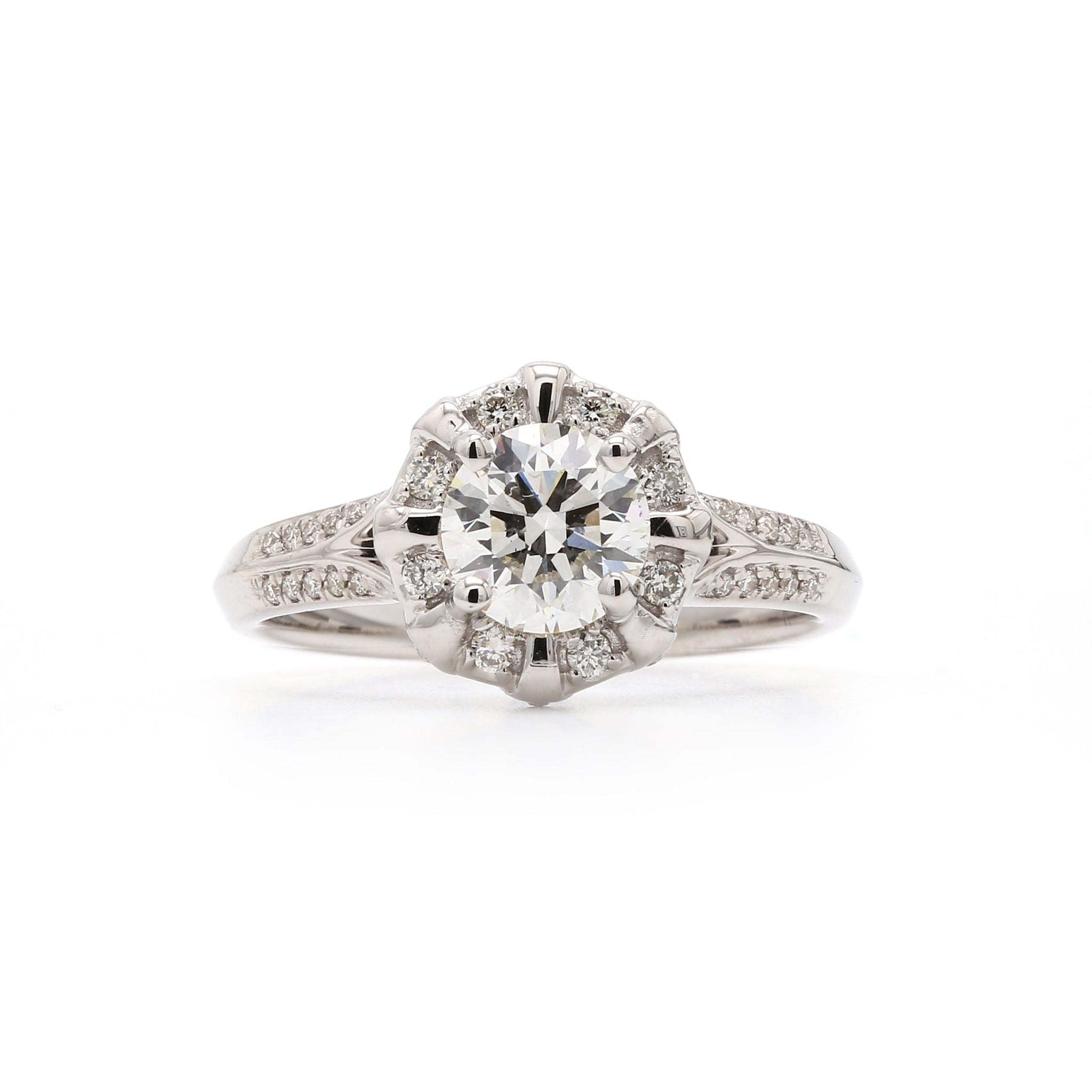 Lab-Grown Diamond White Gold Halo Engagement Ring