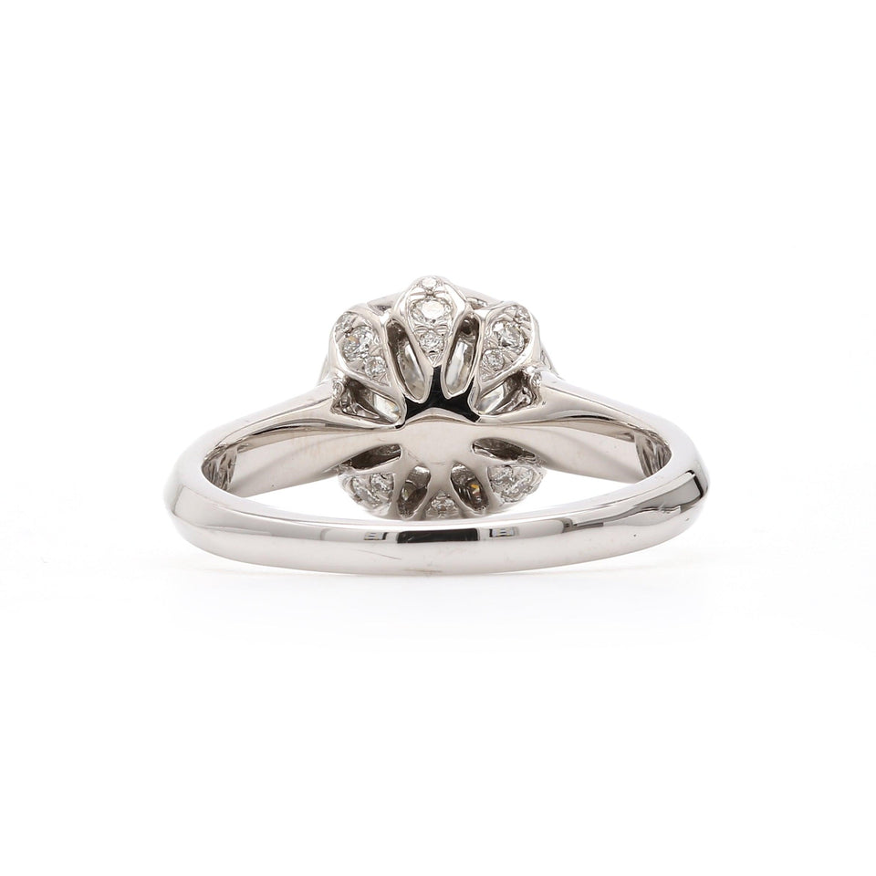 Lab Grown Diamond White Gold Halo Engagement Ring Rear
