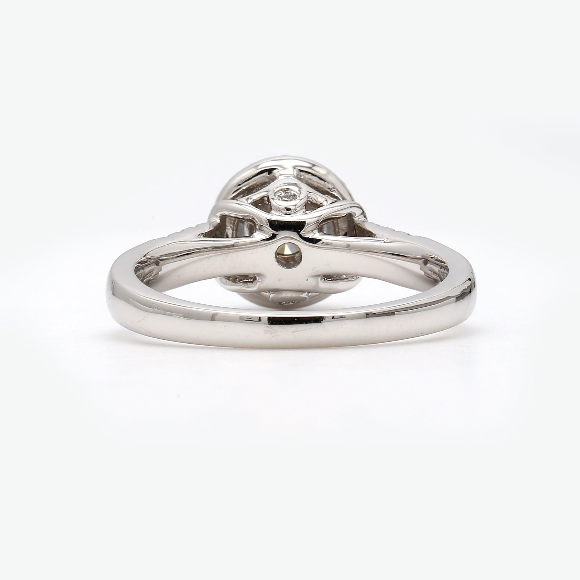 Lab-Grown Halo Engagement Ring Rear View