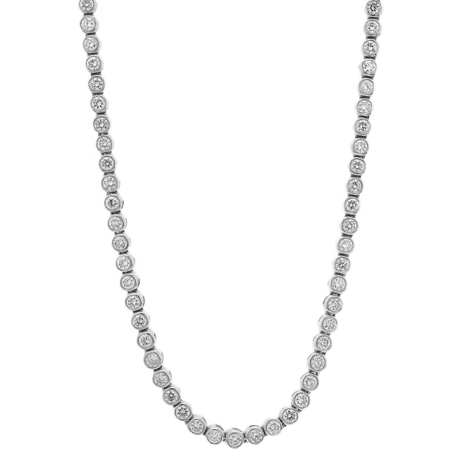 5 carat bezel necklace white gold