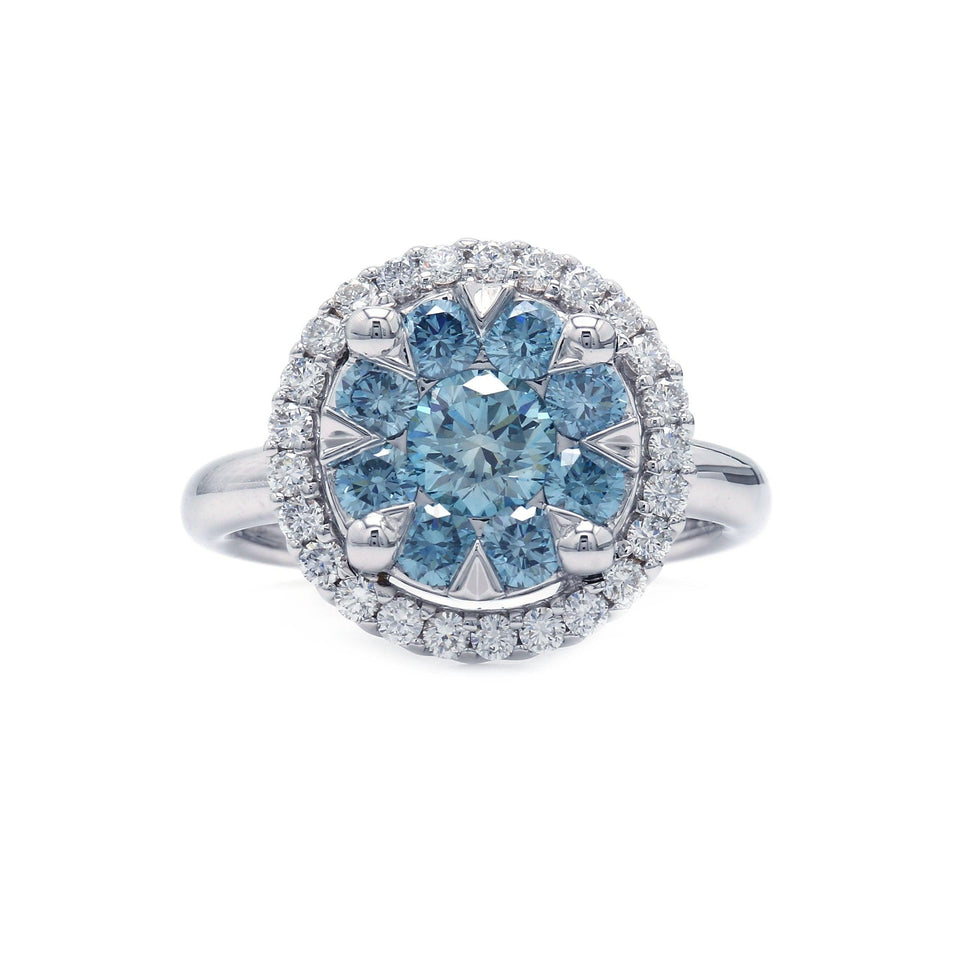 1 1/2 Ct. T.W. Lab-Grown Ice Blue And White Diamond 14K White Gold Ring