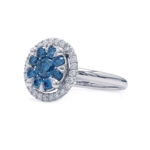 1 1/2 Ct. T.W. Lab-Grown Royal Blue And White Diamond 14K White Gold Ring