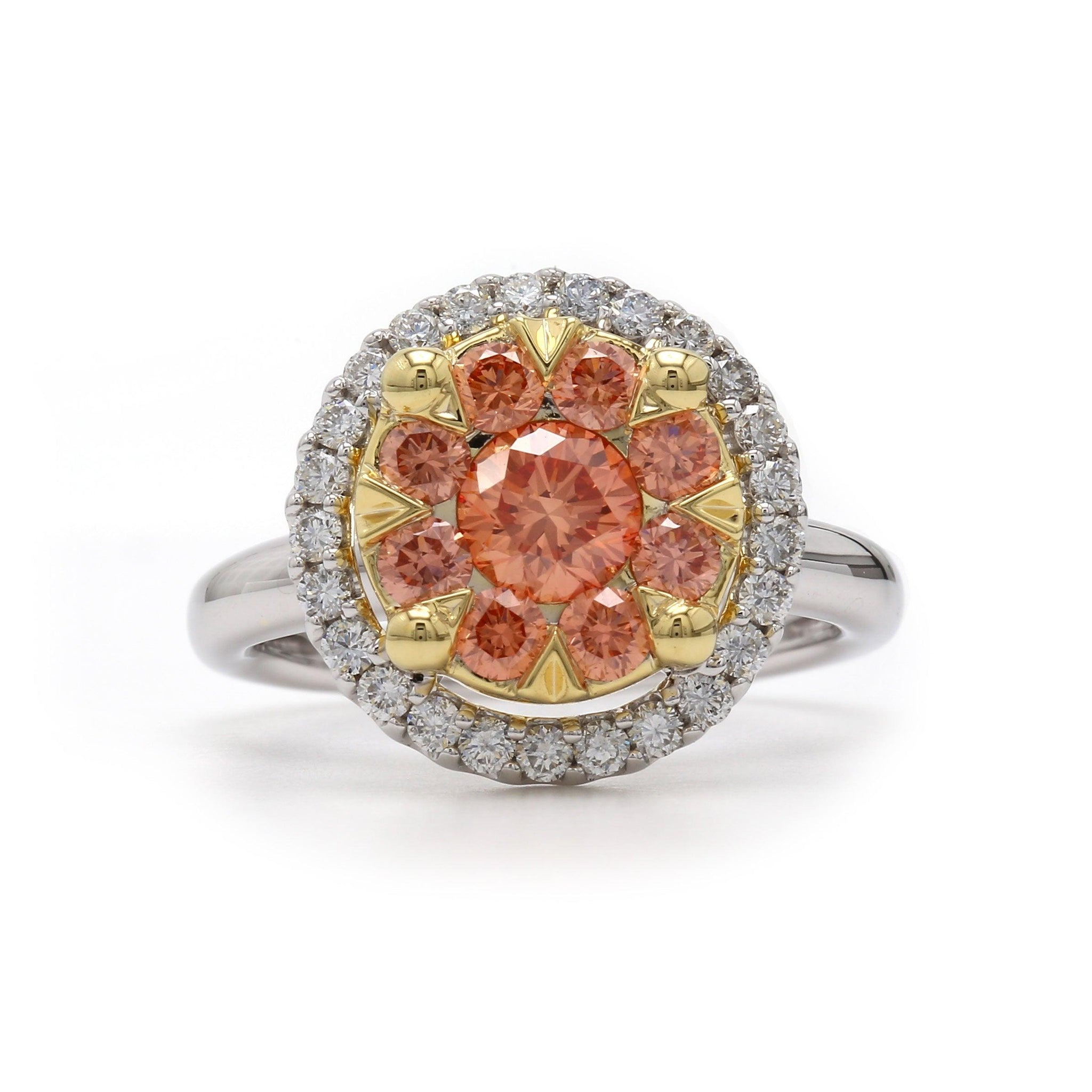 1 1/2 Ct. T.W. Lab-Grown Orange And White Diamond 14K Gold Ring