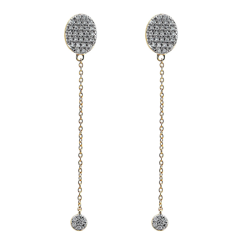 diamond long drop earrings