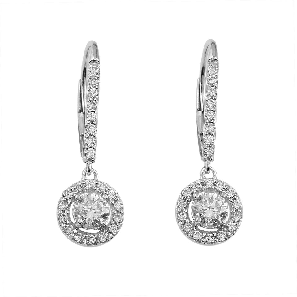 1.00 Ct. T.W. Lab Grown Diamond Leverback Earrings 14K White Gold