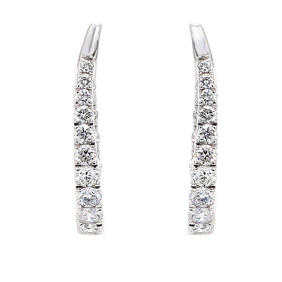 2.00 Ct. T.W. Lab Grown Diamond Journey Earrings 14K White Gold