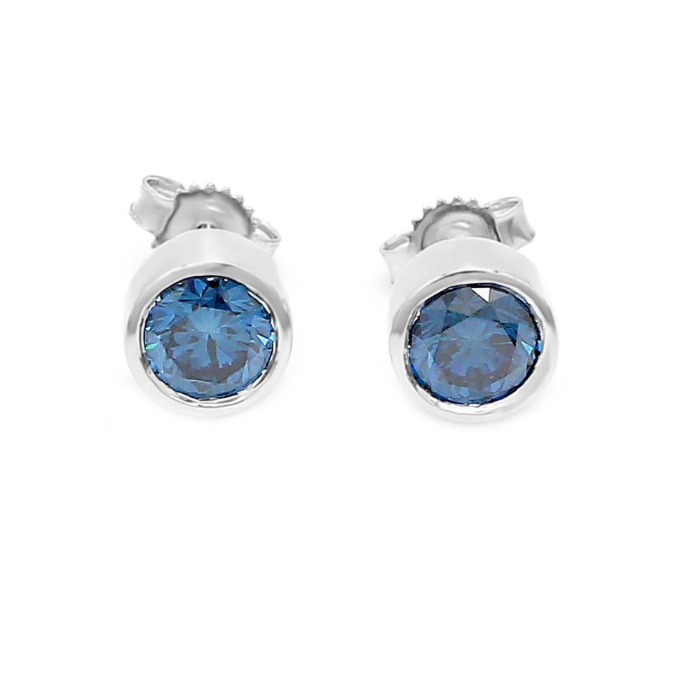 1 1/4 Ct. T.W. Royal Blue Lab-Grown Diamond Bezel Earrings 14K White Gold