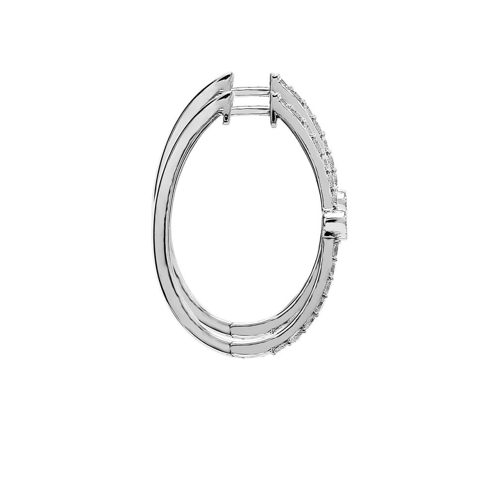 1.00 Ct. T.W. Lab Grown Diamond Hoop Earrings 14K White Gold