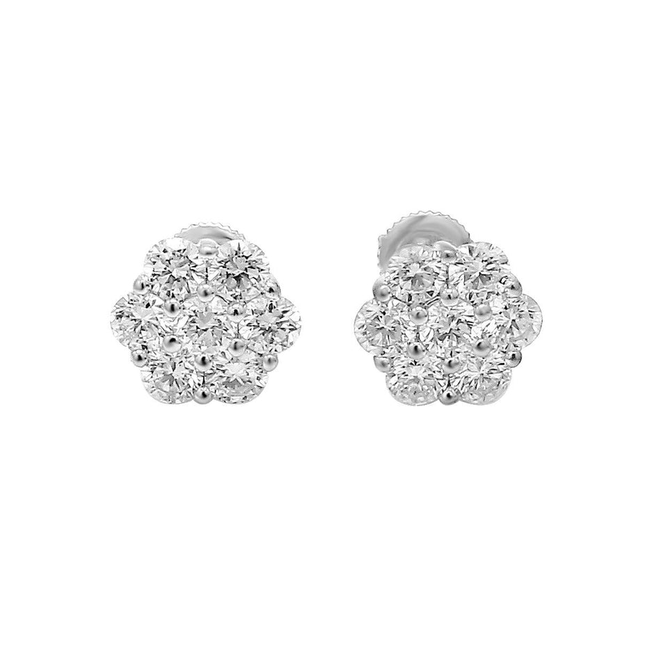 1 1/2 Ct. T.W. Lab-Grown Diamond Flower Earrings 14K Gold